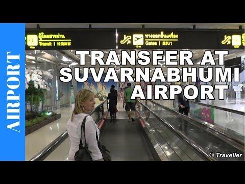 Suvarnabhumi Airport in Bangkok - transit walk to Bangkok Airways connection flight to Koh Samui