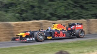 Red Bull RB8 F1 2012 SCREAMING V8, DONUTS, BURNOUTS @ FOS Goodwood 2019