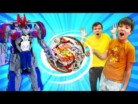 Роботы Трансформеры на арене БейБлэйд Берст! Видео с игрушками для мальчиков.