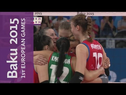 An amazing shot to win the point for Azerbaijan | Volleyball | Baku 2015 European Games