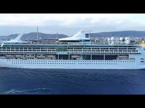 "Horn battle - ""Splendor of the Seas"" cheered by ""Navigator of the Seas"" in Piraeus Greece (Oct.2013)"