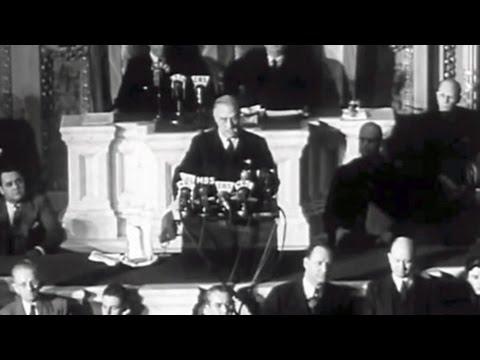 President Franklin Delano Roosevelt Addresses the Nation - Pearl Harbor Attack December 7th, 1941