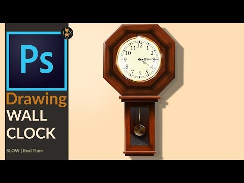 Drawing a Old analog  Wooden Wall Clock in Adobe Photoshop CC