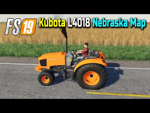 Driving Kubota L4018 Mini Tractor, FS19 Nebraska Lands USA 4x Map