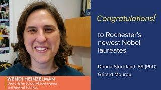 Congratulations from Wendi Heinzelman to Donna Strickland