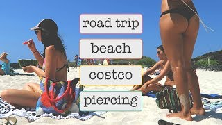 GETTING PIERCED // ROAD TRIP VLOG \\ BEACH // WHAT WE ATE