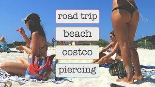 GETTING PIERCED // ROAD TRIP VLOG \\ BEACH // WHAT WE ATE