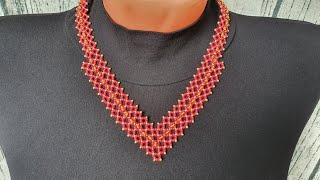 NECKLACE CORNER DIY necklace How to make a necklace Necklace Колье УГОЛОК из бисера Из бисера