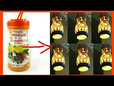 Lamp with plastic jar (chyawanprash jar)|Diwali decoration