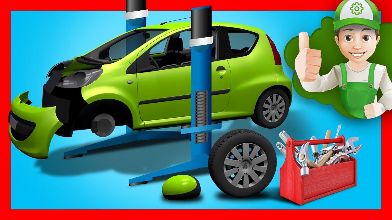 Развивающие машинки. Мультик про машинки – Винтик ремонтирует машинку в гараже после аварии.