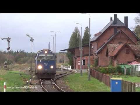ST45 i SM42 z drewnem przelotem przez stacyjkę Osie // ST45 & SM42 with windfall train passing Osie