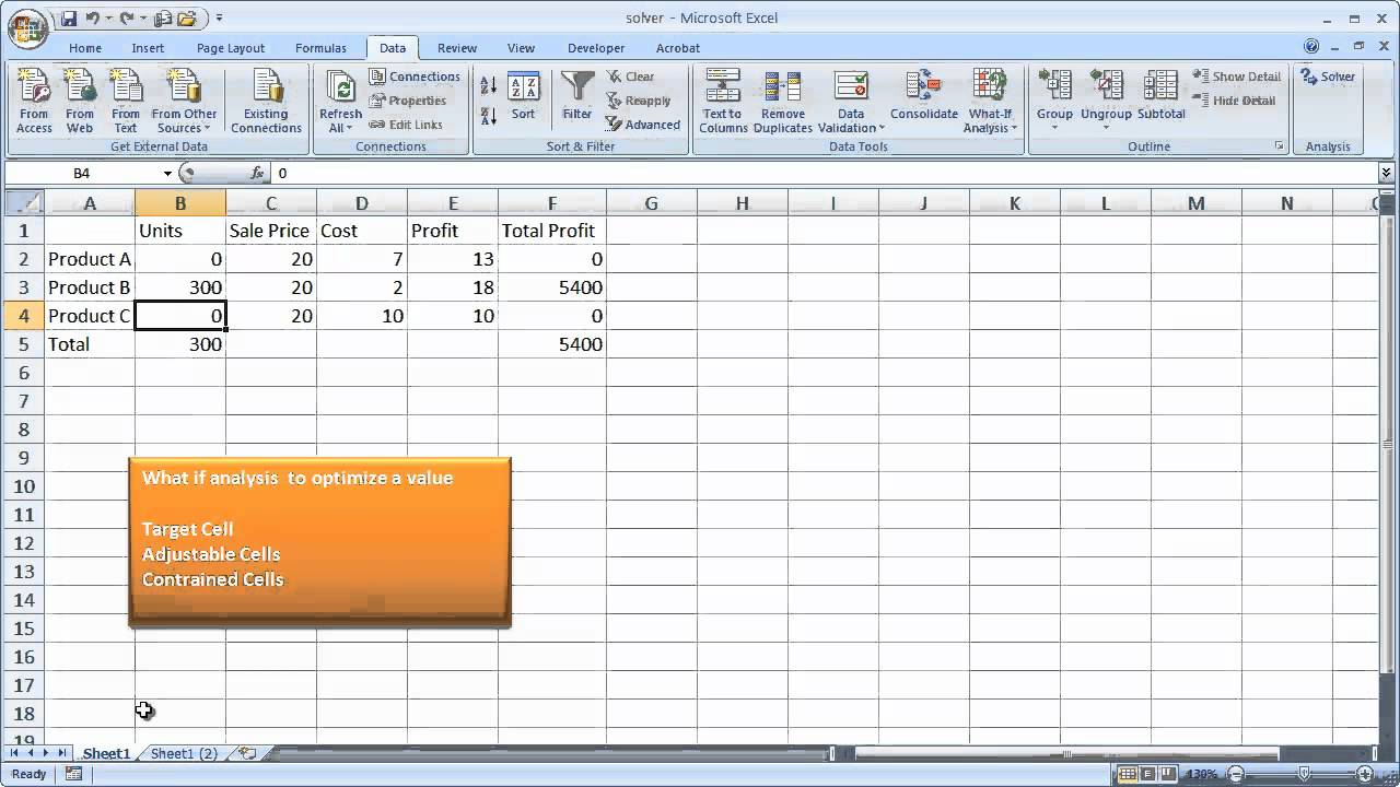 Use the Excel Solver Tool - YouTube