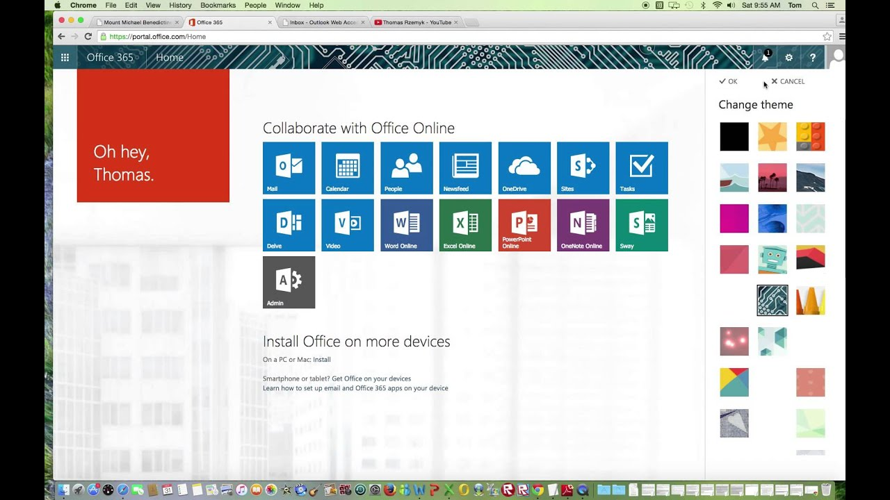 Video 6: Changing the Theme Page in Office 365 - YouTube