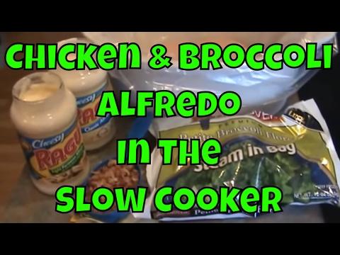 Slow Cooker CHICKEN AND BROCCOLI ALFREDO Recipe!  Easy And Delicious!