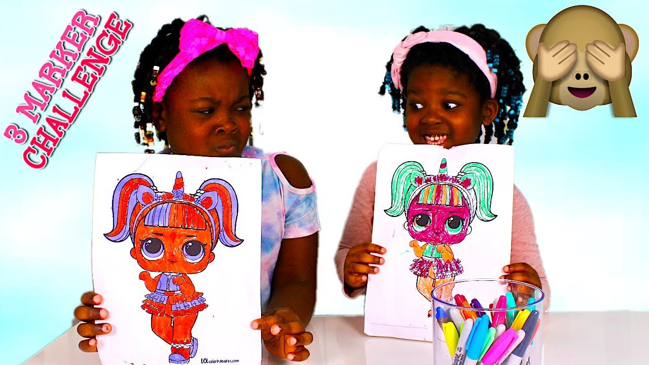 Toys For Sisters : Marker challenge with toys and fun sisters youtube