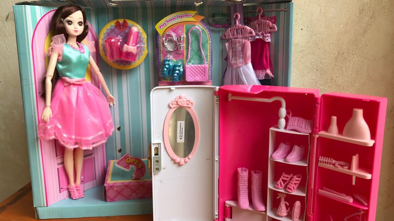 BÚP BÊ MẮT THUỶ TINH, TỦ QUẦN ÁO BÚP BÊ 2 TRONG 1 – Baby doll fashion (Chim Xinh)