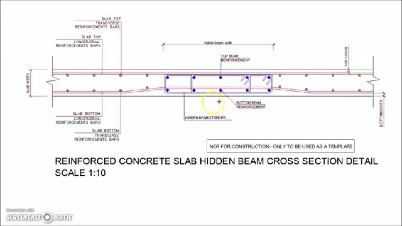 Slab Hidden Beam Reinforcement Cross Section Detail Youtube