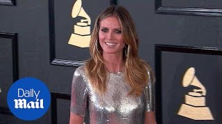 Like a disco ball! Heidi Klum shimmers in silver at Grammys - Daily Mail