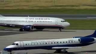 US Airways 737-400 Arrival & Taxi at Bradley International Airport [BDL]