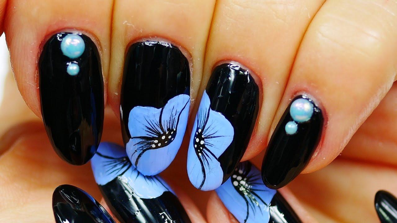 Nail art black design blue flowers youtube dhlflorist Images