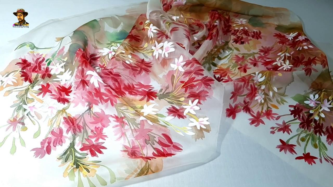 মাধবীলতা ফুল হ্যান্ড পেইন্ট ওড়না ডিজাইন | Madhobilota flower hand painted Orna  design | মসলিন কাপড়
