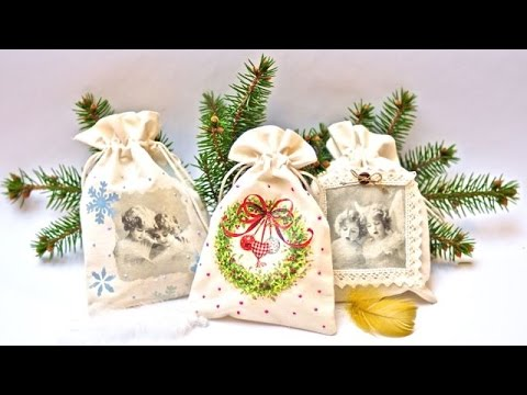 Decoupage on textile -  decoupage bags -----   DIY By Catherine  :)