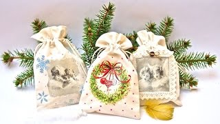 Decoupage on textile -  decoupage bags - DIY TUTORIAL