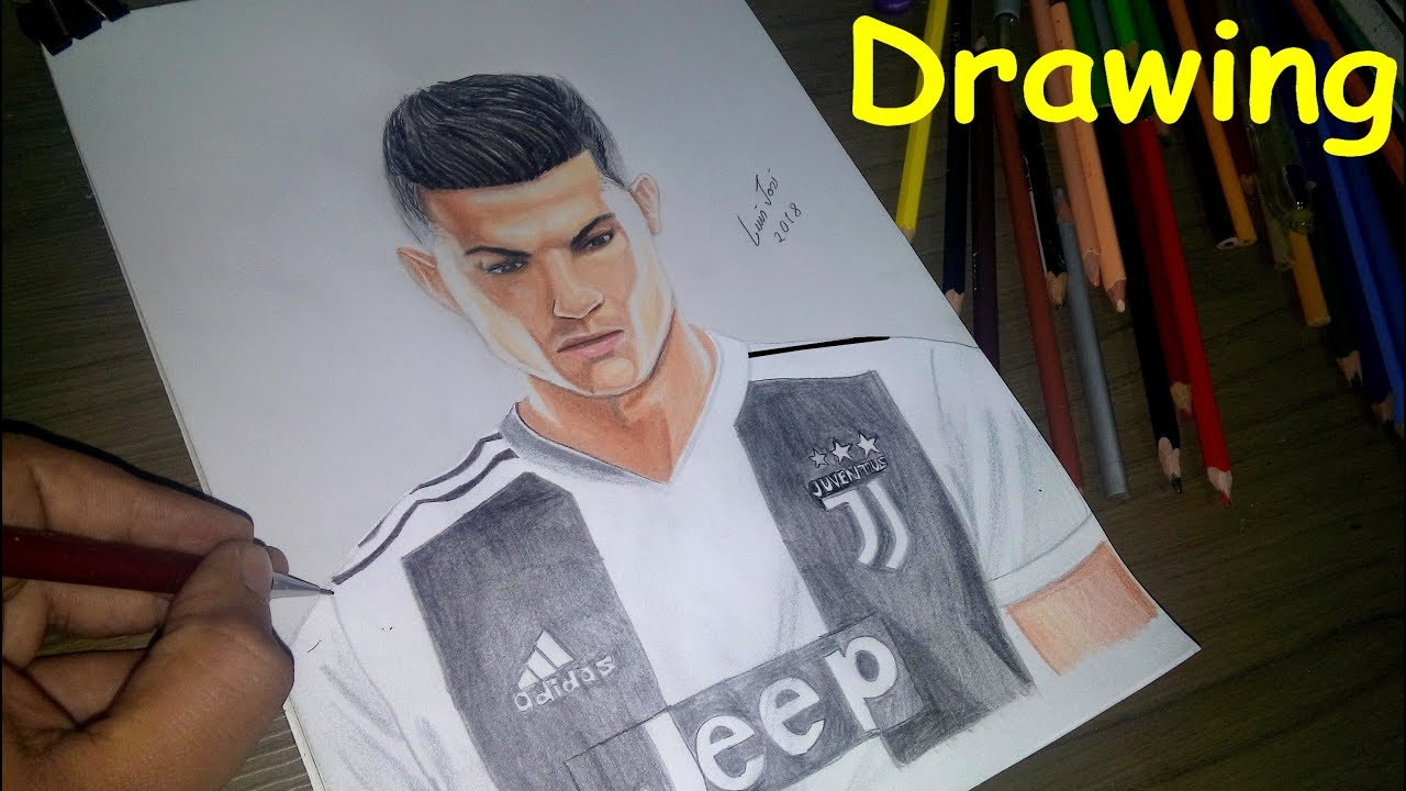 Cristiano Ronaldo Na Juventus Desenho Realista Drawing Cr7 Drawing