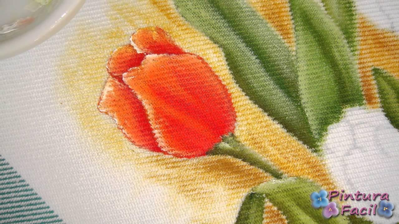 Como pintar en tela tulipanes paint fabric tulips - Como hacer cuadros de tela ...