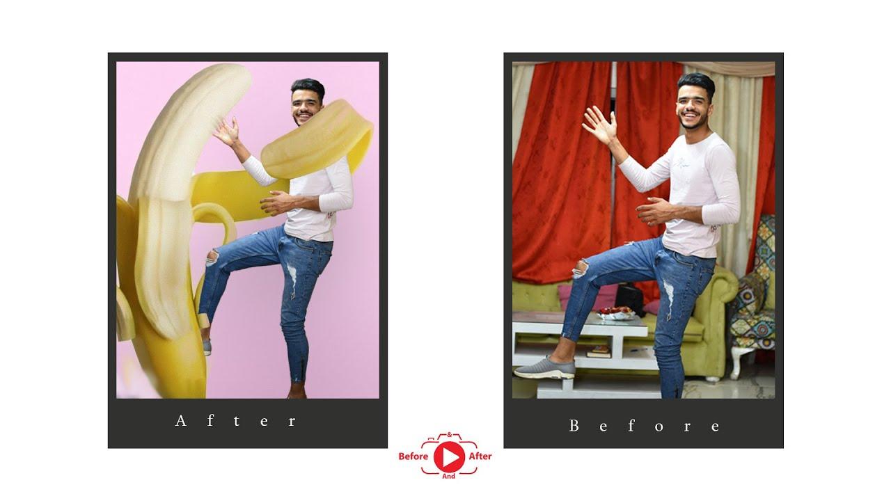 photo manipulation made  boy dancing  with banana | photoshop