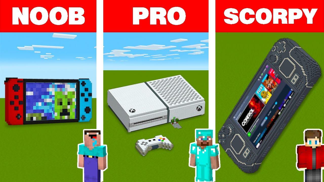 Minecraft NOOB vs PRO vs SCORPY: CONSOLE HOUSE BUILD CHALLENGE in Minecraft Animation
