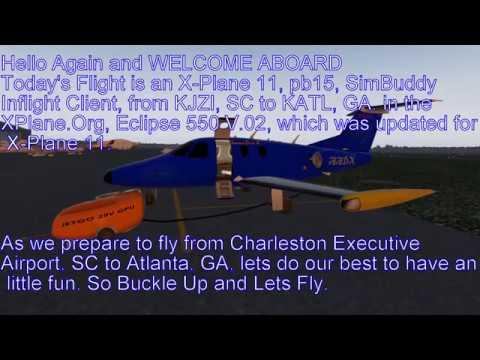 X-Plane 11 pb15 Eclips550 V2.0 KJZI to KATL, SimBuddy Inflight