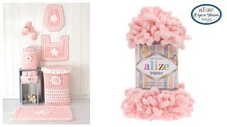 Yarn: Alize Puffy – Color: 340 – Ball of Yarn: 4 • Color: 55 – Ball...