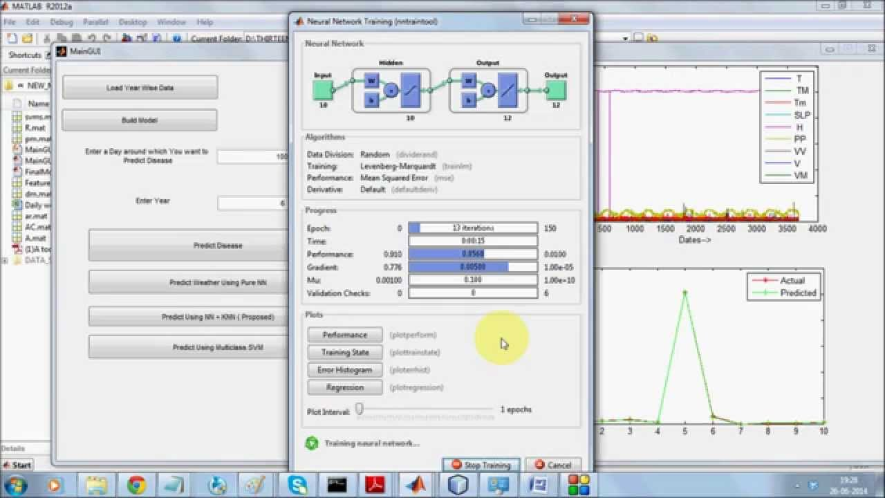 Predictive Data Mining with SVM, NN, KNN for weather and plant disease  prediction in Matlab