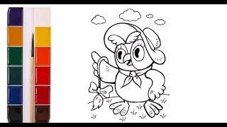 Раскраска для детей. Сова. Герои мультфильма Винни Пух. Нарисуй сам. Учим цвета.