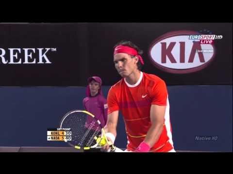Australian Open 2010 R3 Rafael Nadal vs Philipp Kohlschreiber highlights [HD]