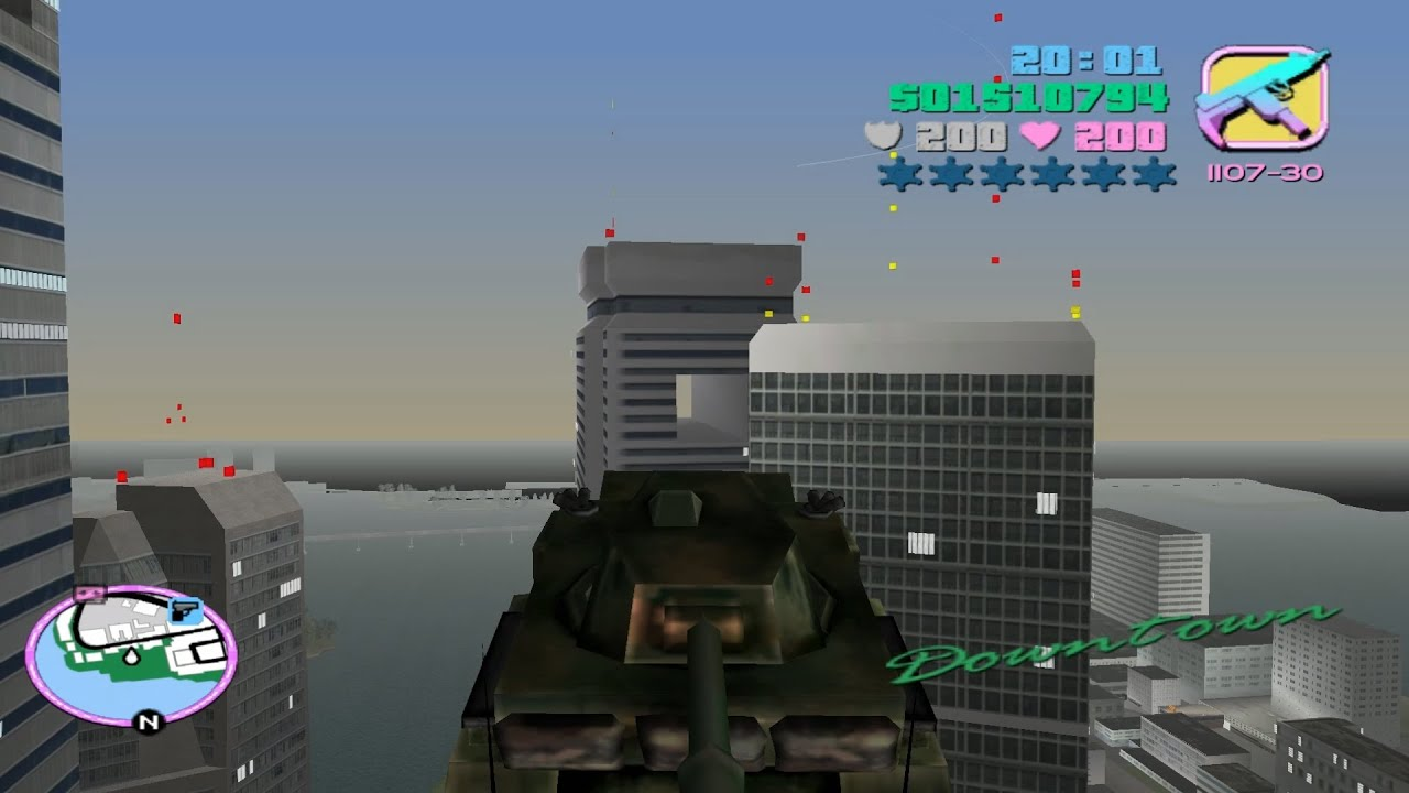 gta vice city how to fly using a tank youtube