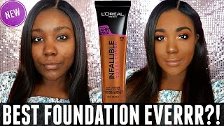 NEW L'OREAL INFALLIBLE TOTAL COVER FOUNDATION REVIEW & DEMO  Acne Scars / dark skin