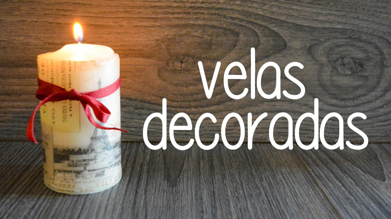 velas decoradas con tcnica decoupage youtube - Velas Decoradas