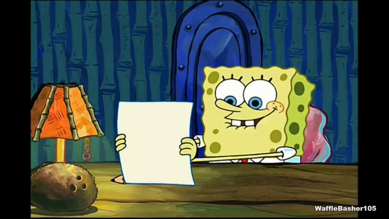 Spongebob its a single piece of paper that says idubbbz youtube
