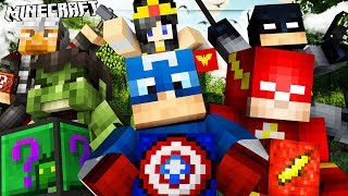 Minecraft SUPERHERO Lucky Block Mod BATTLE on Stark Tower - Batman, Captain America, Wonder Woman