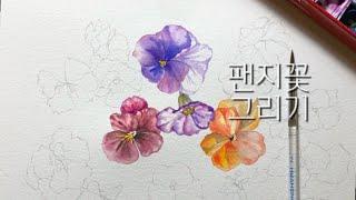 [수채화] 팬지꽃 그리기 | Spring |Waterc…