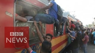 Macedonia: Migrants desperate for a train into the EU - BBC News