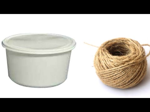 How to make a Jewellery Box with jute rope and waste food container