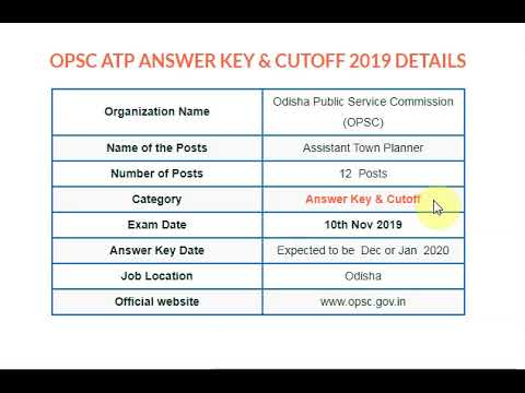 OPSC Assistant Town Planner Answer Key 2019