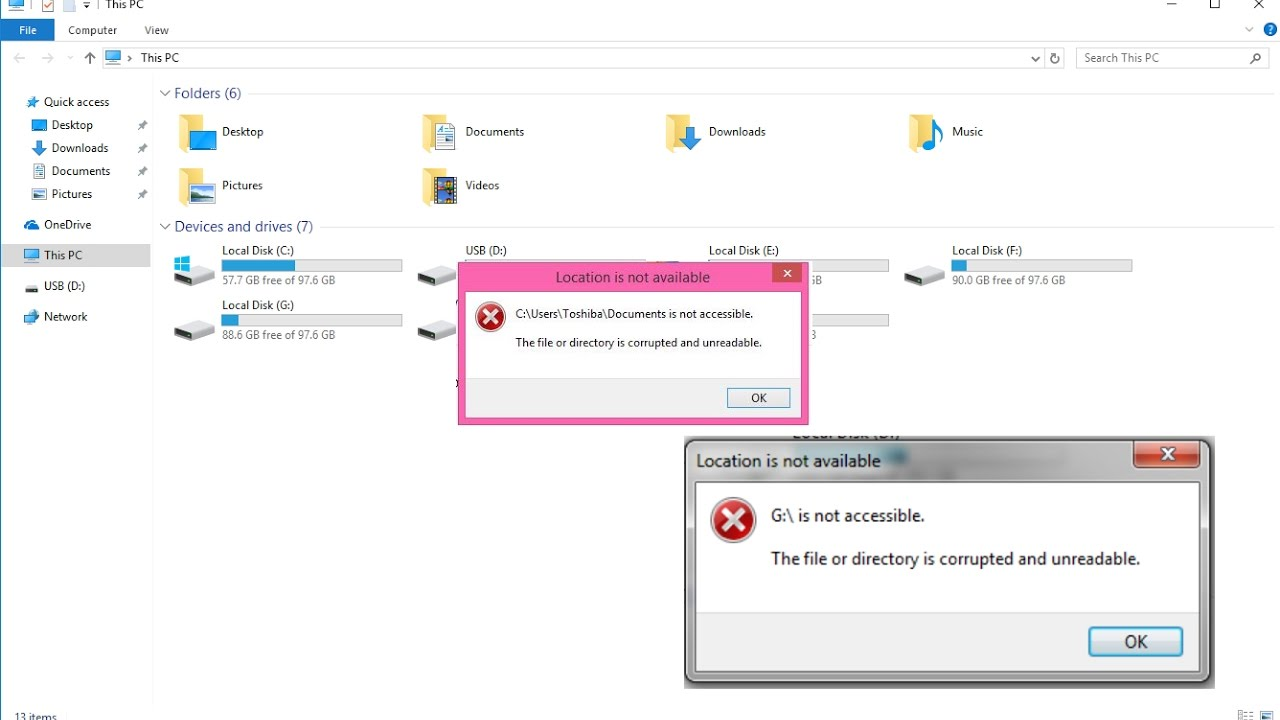 """How to Fix """"The File or directory is corrupted and unreadable"""" Error  (Location is not available)"""
