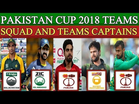 Pakistan Cup 2018 All Teams Squad And Captains   Punjab, Sindh, Baluchistan, Fedral Areas , KPK