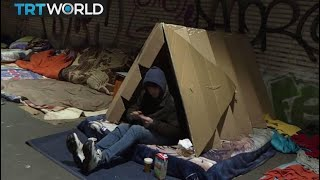 Cardboard Shelter: Brussels homeless people given tents to sleep