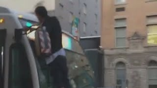 Crazed Man Stabs & Attacks BUS, Then Taken Down by Citizens & Police