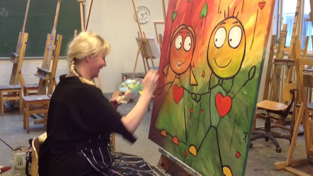 Kunst med Natalia Quattromani Akryl maleri 2016 - YouTube